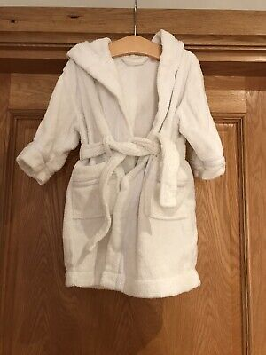 John Lewis Baby Towelling Bath Robe Dressing Gown Age 9-12 Month