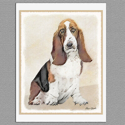 BASSET HOUND CHARMING DOG GREETINGS NOTE CARD DOG WITH MUDDY FOOTPRINTS