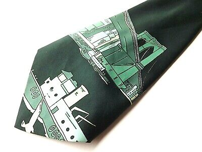 Vintage EXTRA WIDE KIPPER Neck Tie 1970s 5 Inch Blade Green Bridge Boat FREE P&P