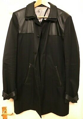 1bc5233f152 ++ The Kooples Black Cotton Coat With Lamb Leather Inserts Luxury Used £350  +