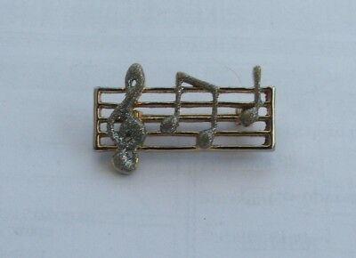 #P556A High Quality Big 5cm Treble Clef Music Note Scarf Pin Brooch Gold Tone