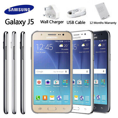 UK Unlocked SAMSUNG Galaxy J5 J500F Black White Gold Dual SIM Android Phone