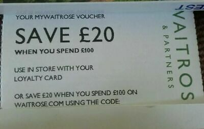 3 x 20% off WAITROSE VOUCHERS COUPONS worth up to £60 valid til 30th June 2019