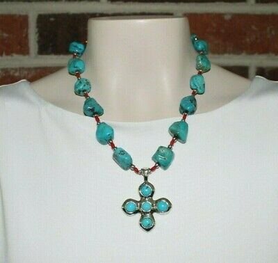 Barse Sterling Silver and Turquoise Chunky Stone Necklace w/ Cross Shape Pendant