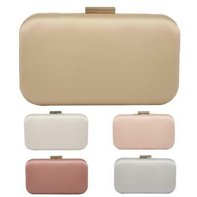 Ladies Satin Box Clutch Bag Top Clasp Evening Bag Wedding Handbag Purse