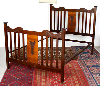 Antique Victorian Bed Frame Walnut Mahogany 19th Century Headboard Footboard
