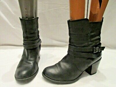 Next Black Leather Stacked Heel Pull On Ankle Boots Uk 5 Eu 38  (2067)