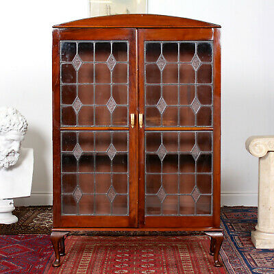 Antique Edwardian Glazed Display Cabinet Bookcase Leaded Glass Mahogany