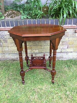 Antique Hall Side Table Victorian Occasional Old Turned Mahogany Stretcher