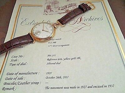 18K Solid Gold Antique 1927 Patek Philippe 18 J Triple Signed Geneva Seal ,Paper