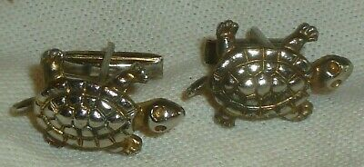 "Antique/Vintage GOLD & SILVER TONE TURTLE CUFFLINKS  1 1/4"" Long, Detailed, Exc"