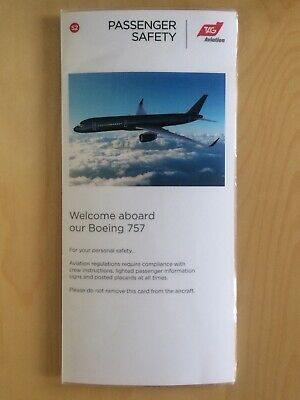 dd4e5a94e5d6 Tag Aviation Boeing 757 In Flight Safety Card Vip Private Jet Airways  Aircraft