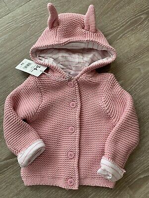 ☆ Adorable Mothercare Pink Knitted Hoodie Jacket 3-6 Months ☆