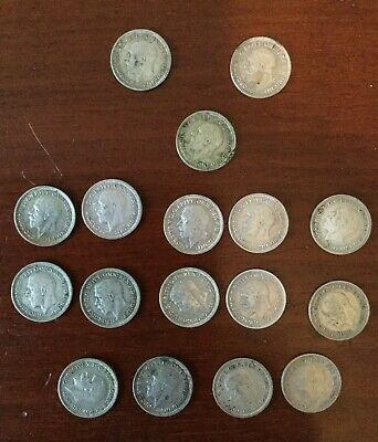 17 x Threepence (3d) coins from 1931 to 1936 - George V reign - silver coins