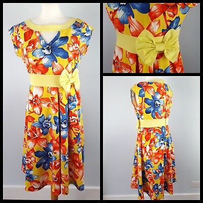 2e2ef92c3355e Lindy Bop Size 14 Short Sleeve Tropical Floral Yellow Red Fifties Swing  Dress