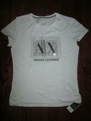 c8156a702 ARMANI EXCHANGE T Shirt A/X Graphic Silver Sequin bling Top Tunic Women's L  NEW
