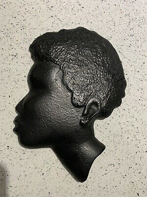 Vintage Black Lady Head Face Mask Wall Plaque Chalkware Ladies African
