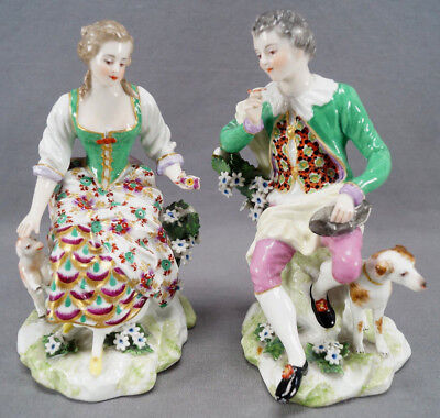 Pair of 19th Cent Continental Hand Painted Chelsea Style Figurines With Animals