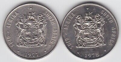 South Africa 1977 & 1978 1 Rand Coins t5
