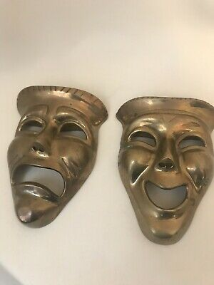 Vintage Brass Comedy/Tragedy Theatre Masks Wall Hanging Plaques