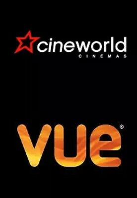 Cineworld or Vue Adult or Child 2D Cinema e-Ticket  - Code by Email Same Day