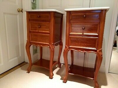 Pair of Antique French Bedside Cabinets Walnut with Carrara Marble