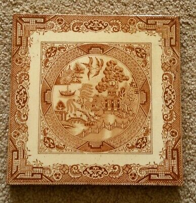 Victorian Chinese Willow Pattern Transfer Printed Tile.