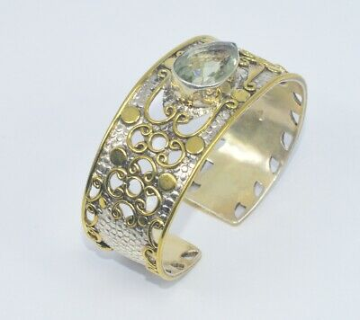 925 Sterling Silver And Brass Two Tone Green Amrthyst Bangle Mi190