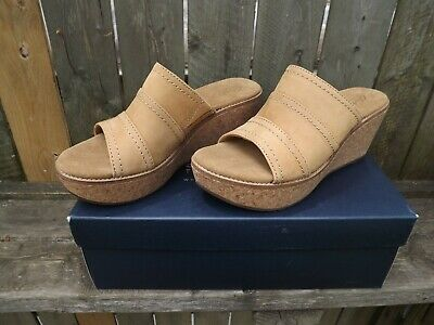 c4762f8669f99 Clarks Aisley Lily Slide Cork Wedge Sandal Womens 8.5 M Tan Leather - Excel  Cond