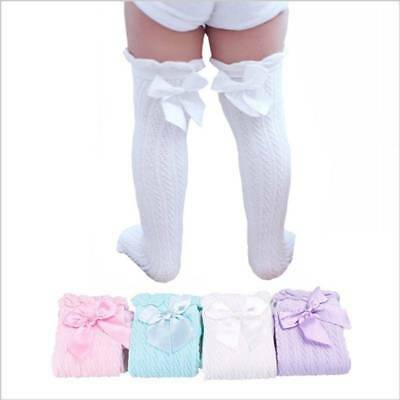 UK Toddler Kid Baby Girl Knee High Long Socks Bow Cotton Casual Stockings