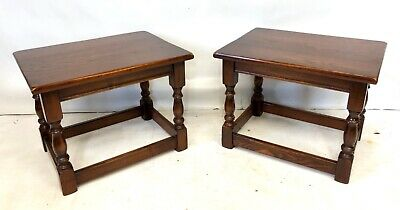 PAIR REPRODUX BEVAN FUNNELL Carved Oak Joint Stools Occasional Tables Lamp Stand