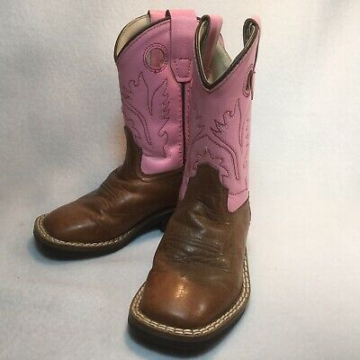 d2d15ed21b3 OLD WEST TODDLER Boy Girl Brown Tan Leather Western Cowboy Boots 4 5 ...
