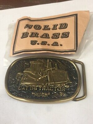 Cat D9 Tractor Heavy Equipment Solid Brass Bts Vintage Belt Buckle Usa