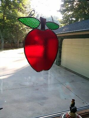 LG 12x10 Handmade stained glass window Fruit Red APPLE Tiffany Style Suncatcher