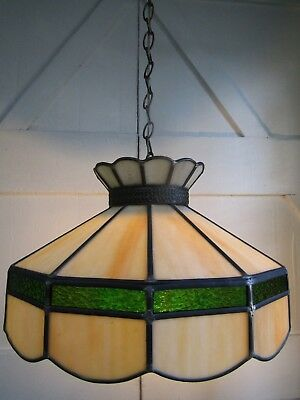 Vintage Style Green Slag Leaded Glass Hanging Lamp 220 00