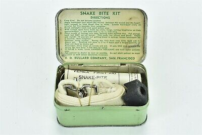 Vintage 1940's SNAKE BITE KIT BULLARD CO SF TIN BOX DIRECTIONS CONTENTS #07809