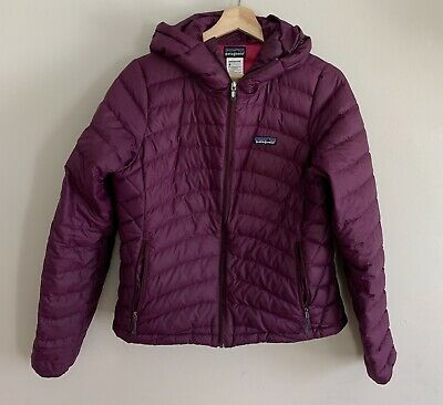 24f04cace22 Patagonia Women's Down Sweater Jacket Hooded Maroon Pink Size Small *flaws*