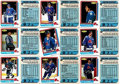 1986-87 O-PEE-CHEE QUEBEC NORDIQUES 9 Vintage Hockey Cards Team Lot RC NmMt