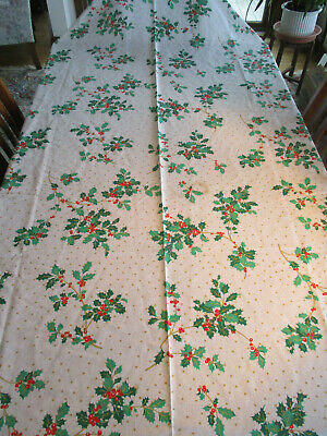 """Christmas Tablecloth Decorated w/Holly 60"""" x 102"""" Very Elegant!!"""