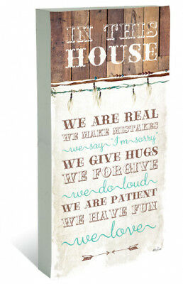 French Country Vintage Wall Art Wooden IN THIS HOUSE RULES Large Sign NEW