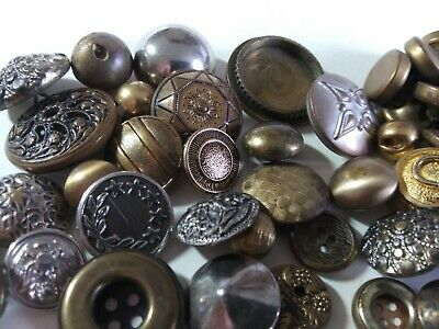 Vintage Brass Tone Metal Buttons lot 60 buttons old brass, gold silver tone M-2