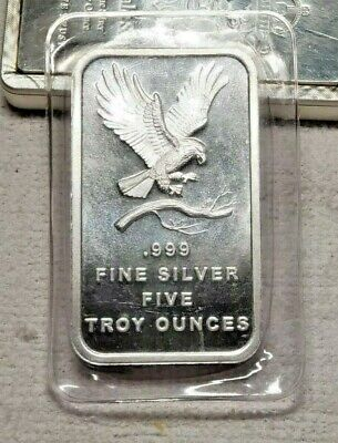 """Silver Towne .999 Fine Silver Five Troy Ounce Bar / """"Eagle & Branch""""Sealed B-UNC"""