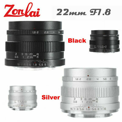Zonlai 22mm f1.8 Manual Lens large Aperture for Fuji X-mount Sony E Cameras BS