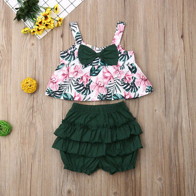 2019 Toddler Kids Baby Girl Summer Clothes Floral Tops Shorts Pants 2PCS Outfits