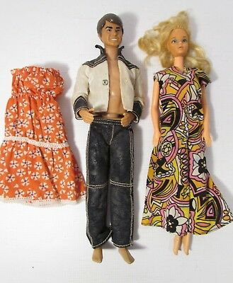 Vintage Barbie Mattel 1968 Cowboy Ken Doll &1966 Barbie Taiwan With Two Dresses