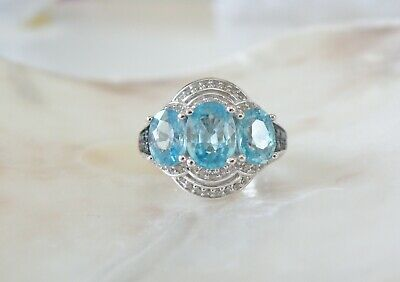 Zales Sterling Silver 925 Natural Blue Topaz White Diamond Cocktail Ring Size 5 129 00 Picclick