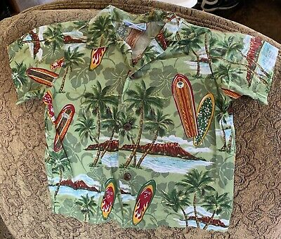HAWAIIAN KIDS SHIRT By RJC, Surf Boards Beach Volcano Palms SIZE 4T FLAWLESS.
