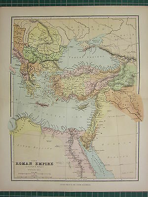 1869 Antique Map ~ Roman Empire Eastern Section Tharcia Dacia Cyprus Syria