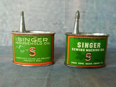 2 Vintage Singer Handy Oil Tins. Sewing Machine Oil & Household Oil