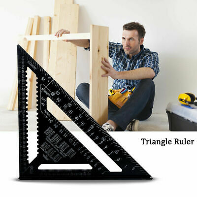 "7""/12"" Ruler Metric/Imperial system Aluminum Alloy Speed Square Roofing Triangle"